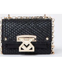 river island womens rsd black woven satchel with lock front