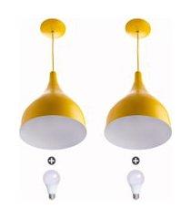 2 lustres pendente gota pequena alumínio 21cm amarelo + lamp
