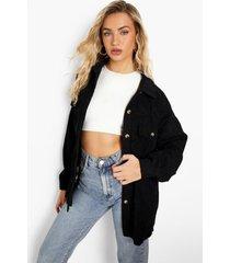 oversized blouse met corduroy zakken, black