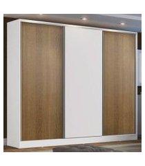 guarda roupa casal 100% mdf madesa zurique 3 portas de correr - branco/rustic/branco branco