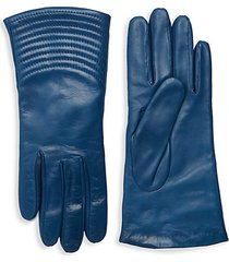 quilted wave leather gloves