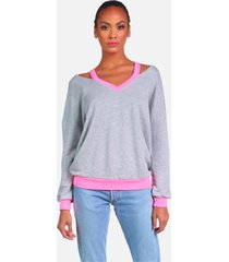 swanson le grey/ neon pink pullover - heather grey/neon pink m