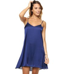 vestido azul vindaloo satén