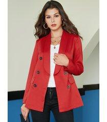 yoins burgundy button diseño blazer con cuello solapa