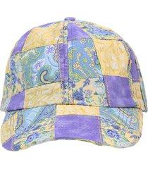 bonã© giulianna fiori patchwork violeta aba curva strapback - roxo - feminino - dafiti