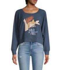 chaser women's graphic raglan-sleeve pullover - avalon - size m