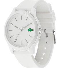 lacoste men's 12.12 white silicone strap watch 42mm