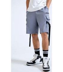 shorts lisos con cremallera y cinta lateral carga para hombre