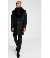reiss lloyd - faux fur shawl collar coat in black, mens, size xxl