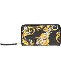 versace jeans couture baroque print wallet - black