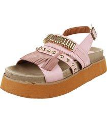 sandalia de cuero rosa foglia brittany