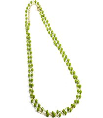 colar longo  mini bolinhas semijoia banho de ouro 18k quartzo verde - verde - feminino - dafiti