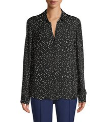 polka dot silk long-sleeve shirt