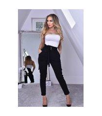 amaya crepe broek met zakken zwart