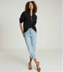 reiss aya - twin-pocket sweatshirt in black, womens, size xl