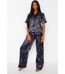 mix & match satijnen galaxy print pyjama broek, black