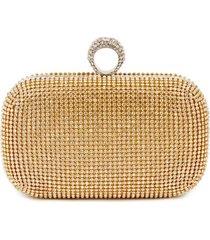 bolsa clutch liage brilho strass metal alça removível dourada prata
