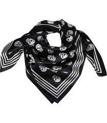 alexander mcqueen black and white biker silk scarf