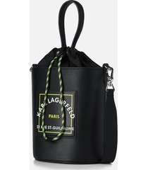 karl lagerfeld women's rsg patch bucket bag - black