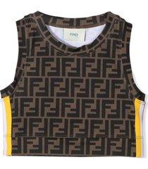fendi brown logo print crop top