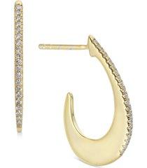 diamond thin-edge teardrop hoop earrings (1/8 ct. t.w.) in 14k yellow gold