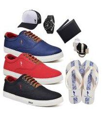 kit 3 pares sapatênis polo blu casual azul/vermelho/preto acompanha chinelo + boné + cinto + meia + carteira + relógio