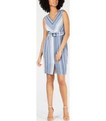 monteau petite belted striped a-line dress