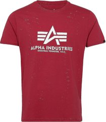 basic t-shirt t-shirts short-sleeved röd alpha industries