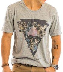 camiseta masculina caveira mescla estampada frontal - area verde - multicolorido - masculino - dafiti