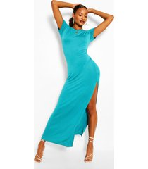 maxi-jurk met korte mouwen en split, turquoise