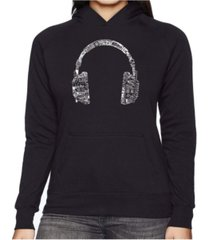 la pop art women's word art hooded sweatshirt -headphones - languages