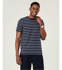camiseta slim listrada fio tinto malwee azul escuro - xgg