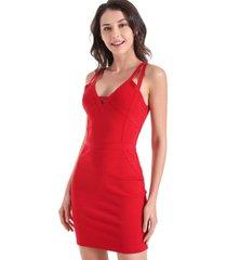 vestido modelador tiras rojo nicopoly
