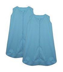 kit 2 saco de dormir bebê azul enxoval pijama algodão