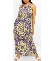 plusmaat maxi-jurk met racerback en tegelprint, meerdere