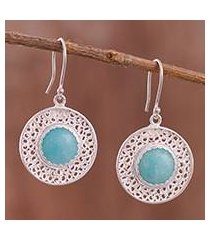 amazonite filigree dangle earrings, 'fascinating style' (peru)