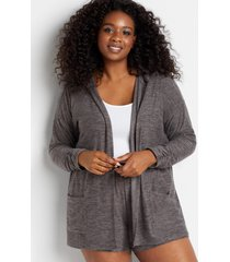 maurices plus size womens gray hooded lounge cardigan