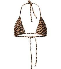 recycled printed bikinitop bruin ganni