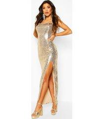 sequin square neck side split maxi dress, gold