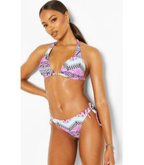 neon mixed print moulded push up triangle bikini, pink