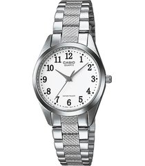 reloj casio dama ltp 1274d 7b acero inoxidable - blanco