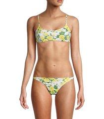 onia women's sarita bikini top - white yellow multicolor - size xl