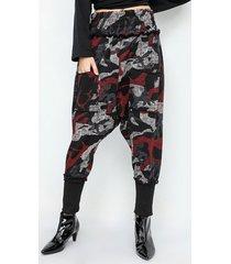 pantaloni in vita elasticizzata con stampa mimetica per donna