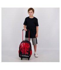 mochila com rodas flamengo strike i preta e vermelha