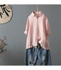 zanzea las mujeres de manga corta de botones en tapas de la camisa floja ocasional del volante de la blusa hem plus -rosado