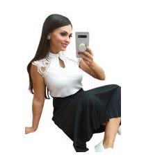 blusa butiq regata social com renda e botões branco