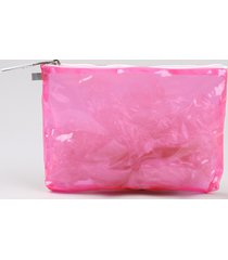 nécessaire feminina transparente rosa neon