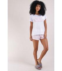 """pijama feminino blusa """"faça mais o que te faz felizzzz"""" manga curta e decote redondo branco"""