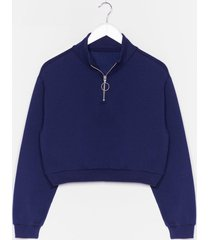 womens get zip done cropped sweatshirt - navy