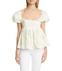 women's brock collection floral print babydoll top, size 12 - ivory